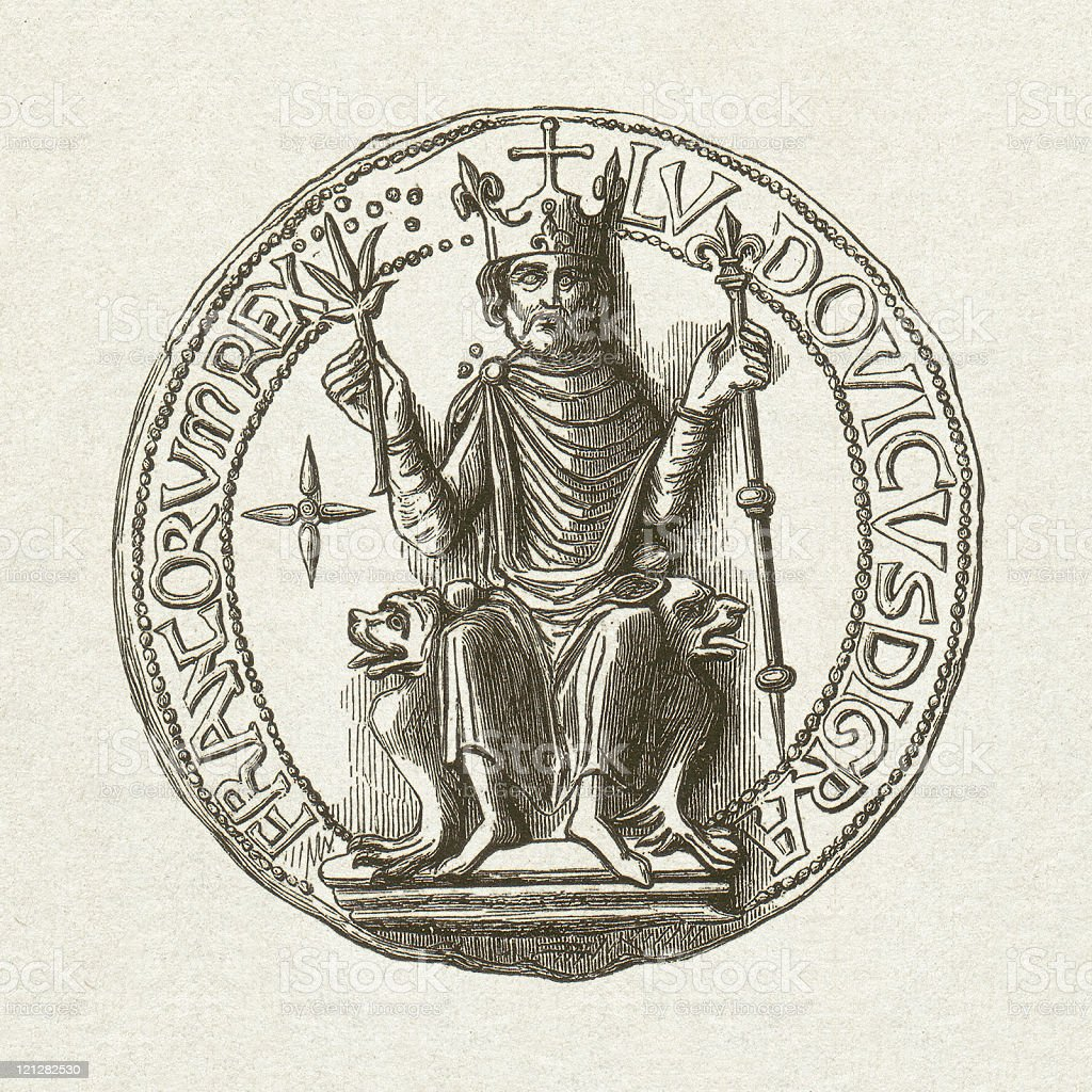 Seal of Louis VI (1081-1137), wood engraving, published in 1881 vector art illustration