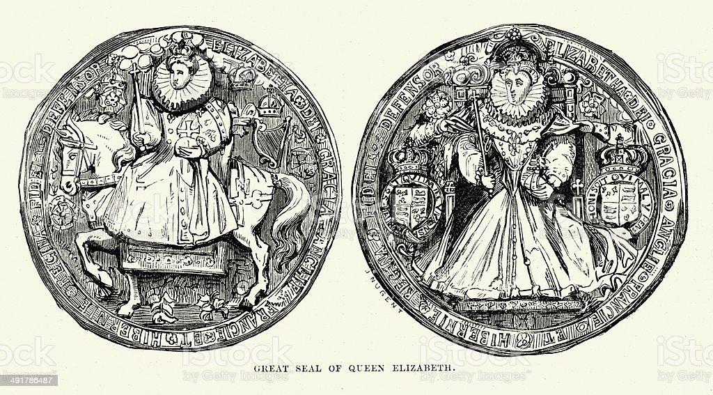 Seal of Queen Elizabeth I royalty-free stock vector art