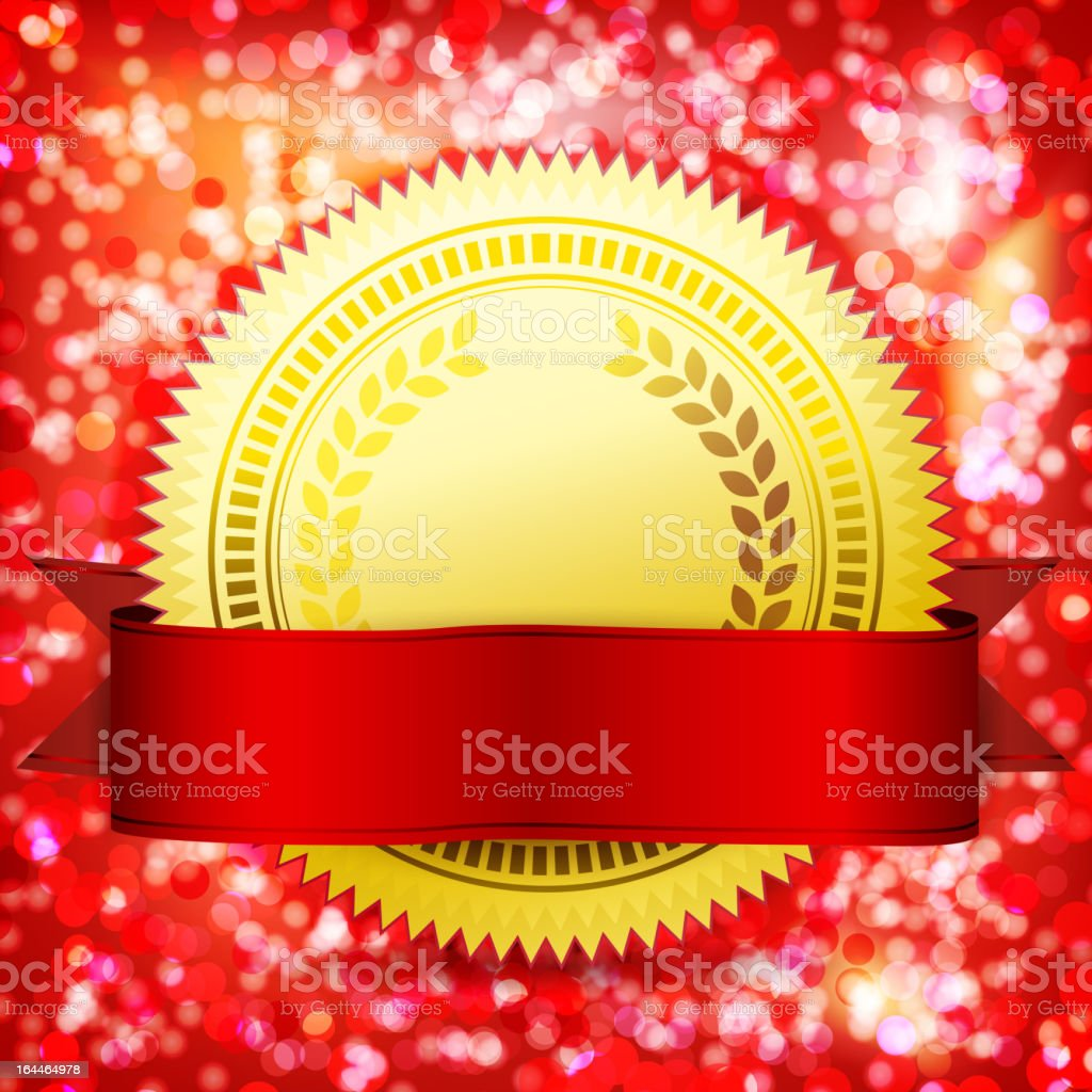 Seal with a red ribbon royalty-free stock vector art