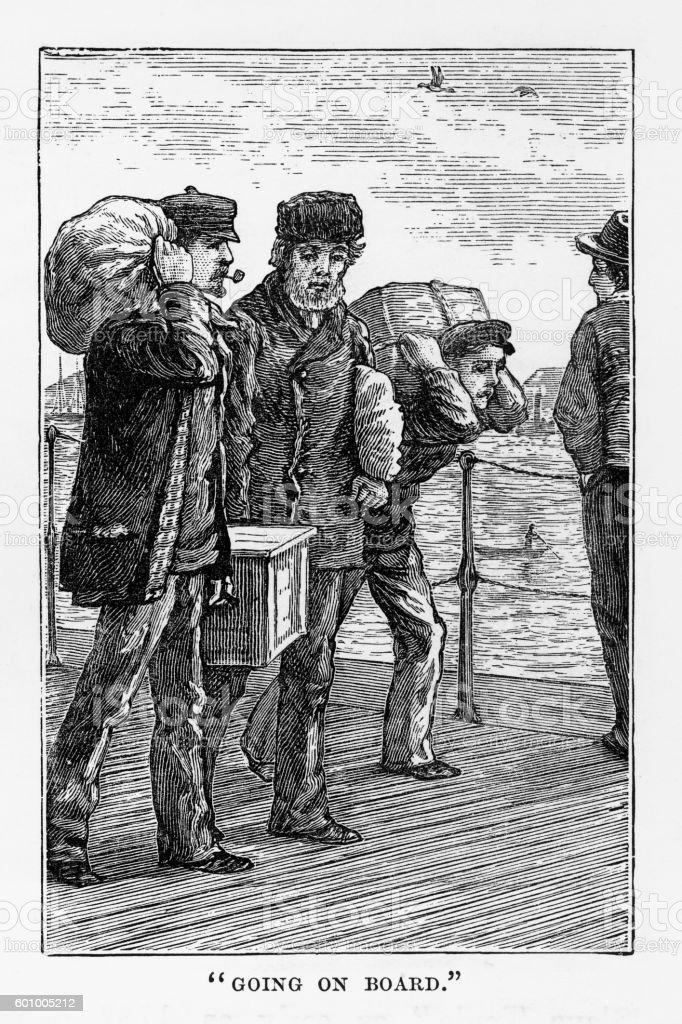 Seamen Boarding a Ship in Liverpool, England Victorian Engraving, 1840 vector art illustration