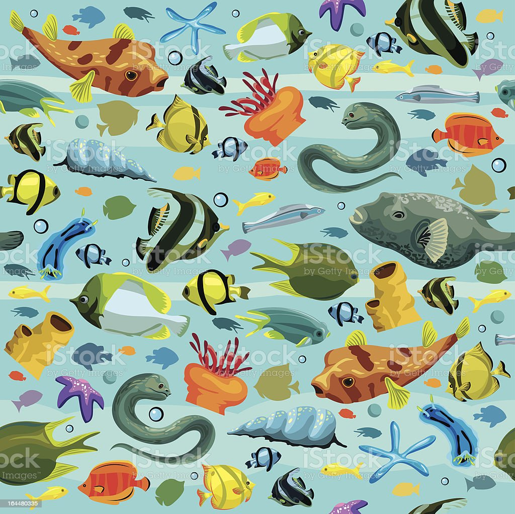 Seamles pattern with colorful fish royalty-free stock vector art