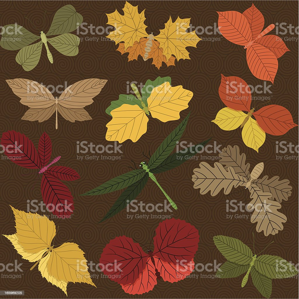 Seamless Autumn Background with Butterflies royalty-free stock vector art