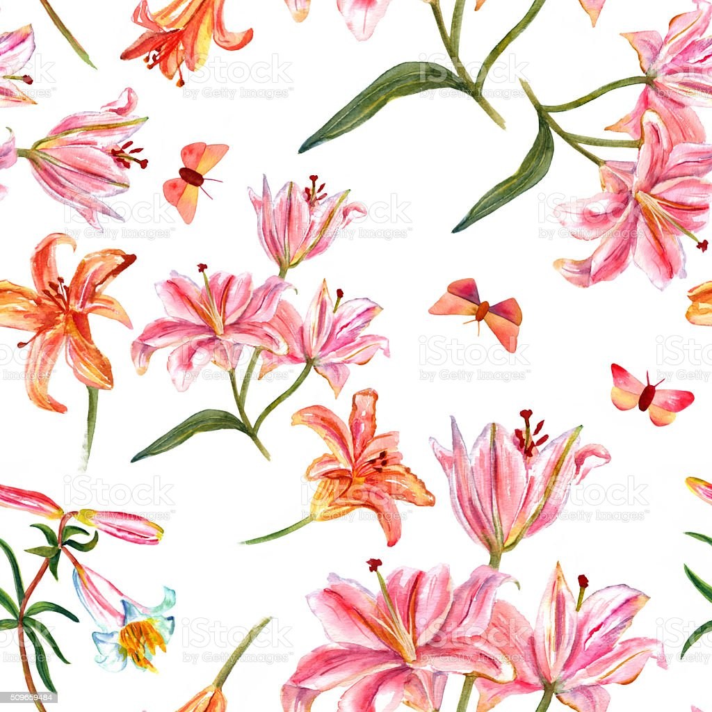 Seamless background pattern with watercolor lilies and butterflies vector art illustration