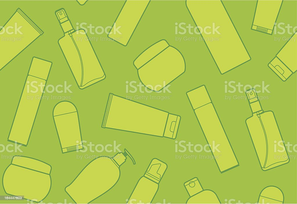 Seamless background with bottles of cosmetic products royalty-free stock vector art