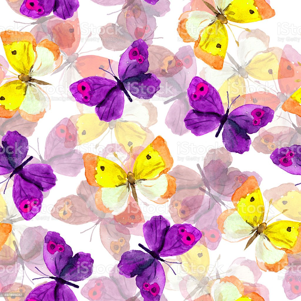 Seamless background with bright watercolor painted butterflies vector art illustration