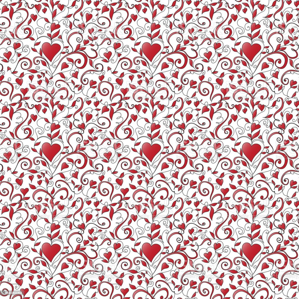 Seamless background with hearts ornament royalty-free stock vector art