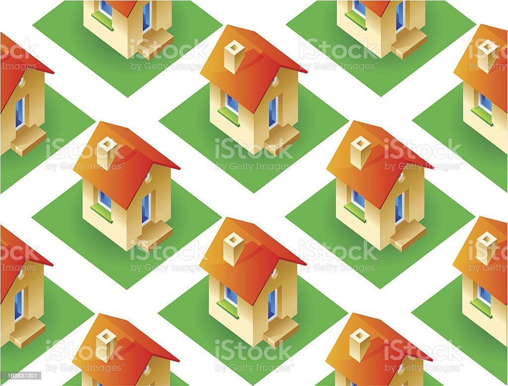 Seamless background with houses royalty-free stock vector art