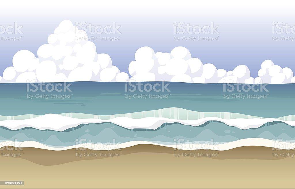 Seamless beach background vector art illustration
