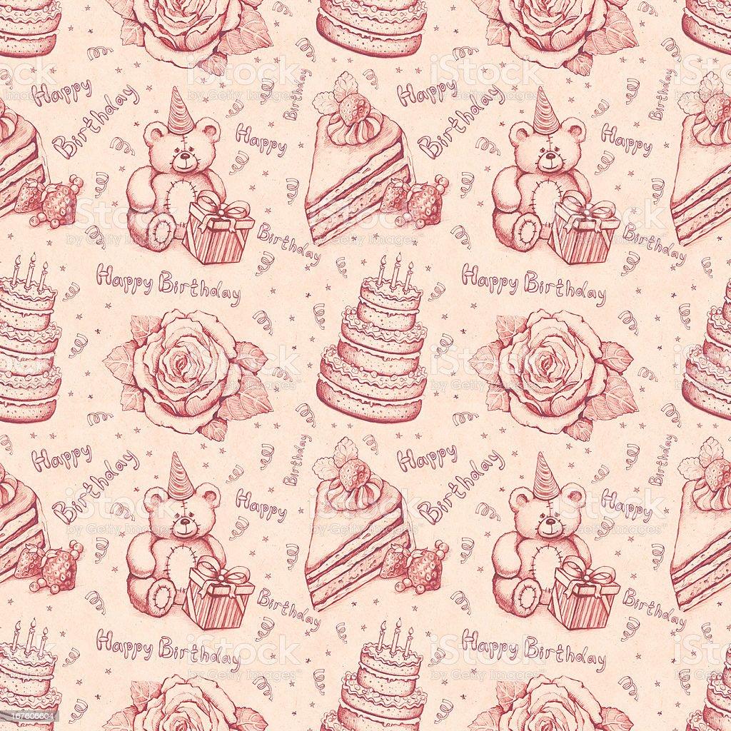 Seamless birthday pattern royalty-free stock vector art