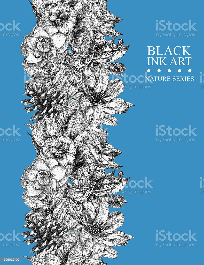 Seamless border with different flowers and plants drawn by hand vector art illustration