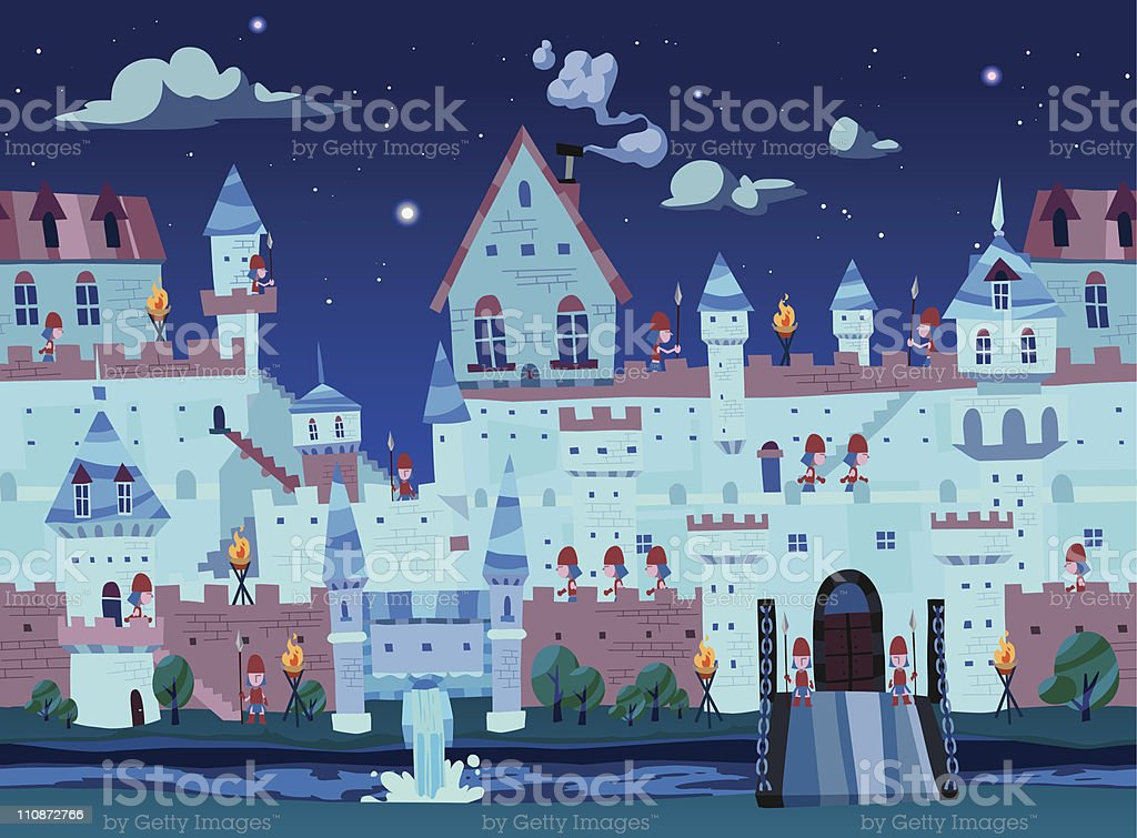 Seamless castle background at night time royalty-free stock vector art