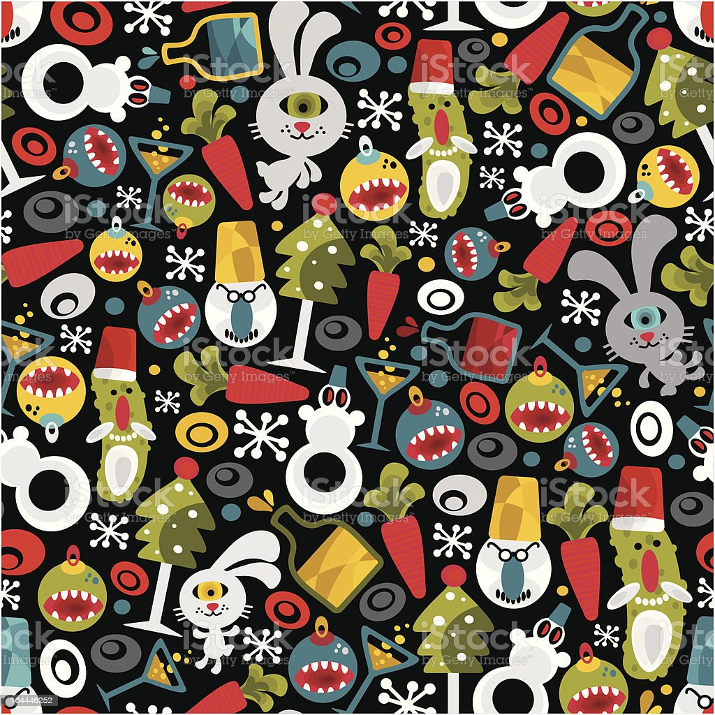 Seamless Christmas pattern with monsters. royalty-free stock vector art