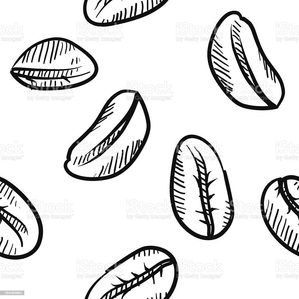 Seamless coffee bean vector background vector art illustration