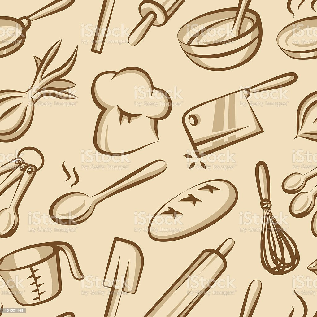 Seamless Cooking and Baking Background vector art illustration