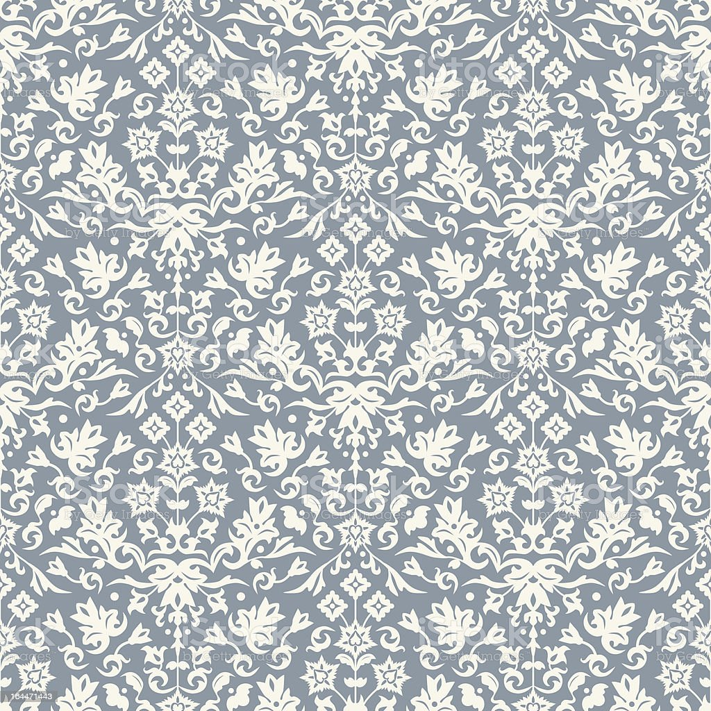 Seamless damask pattern wallpaper background. Vector royalty-free stock vector art