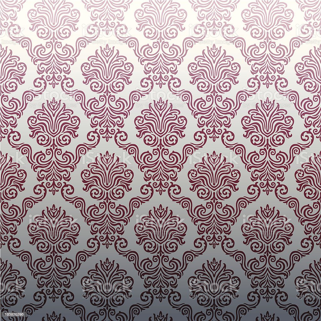 Seamless Damask wallpaper vector art illustration