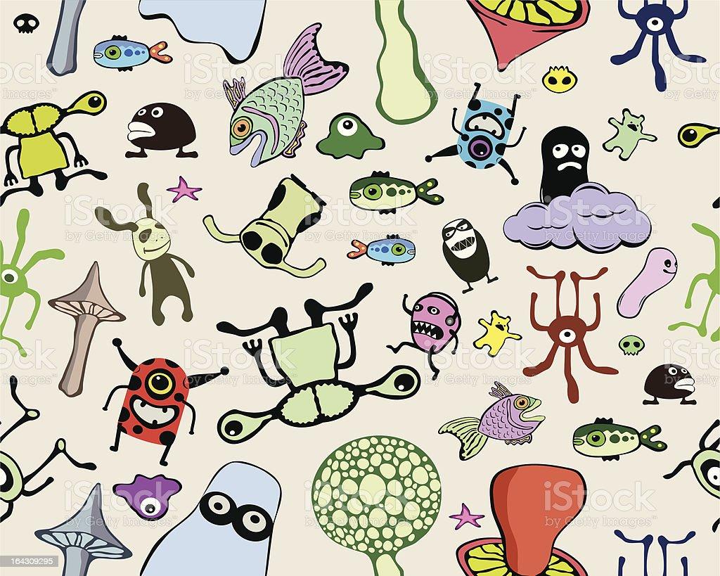 Seamless doodle pattern vector art illustration