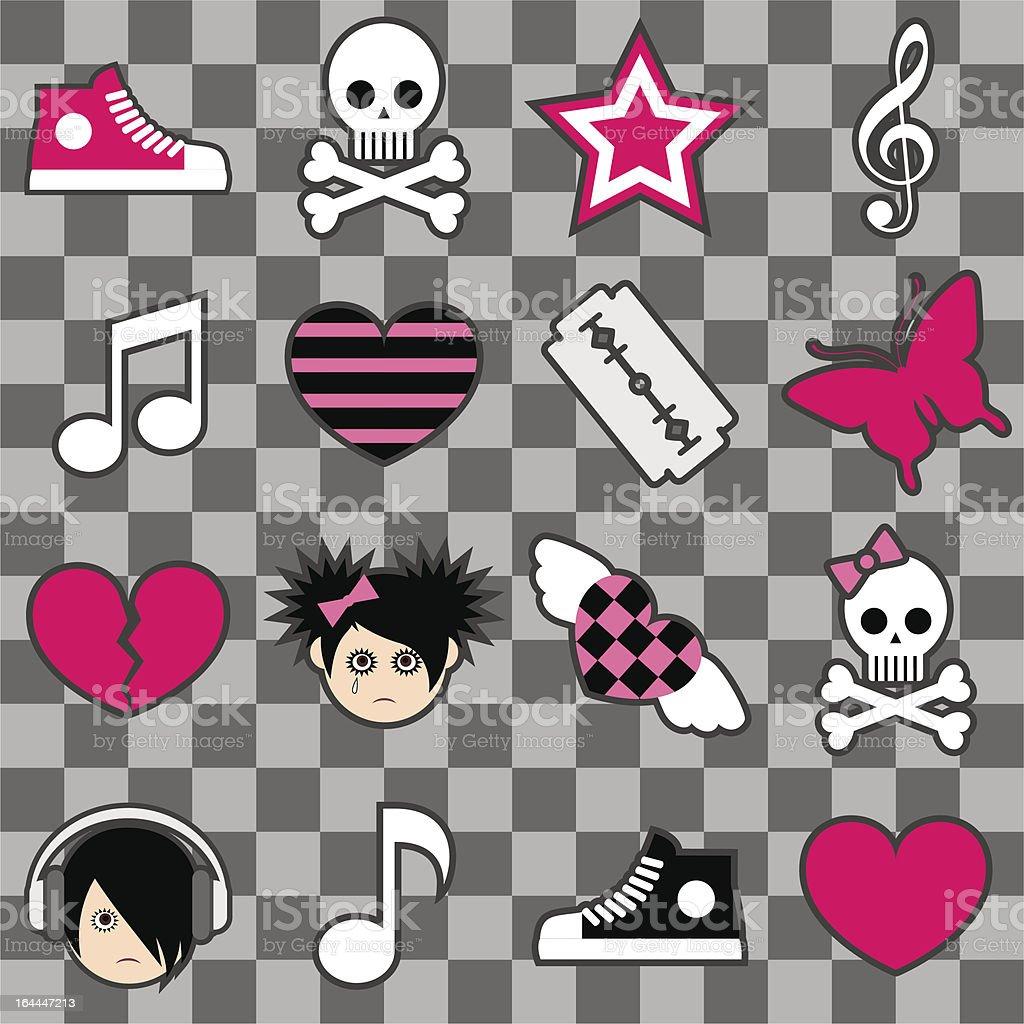 Seamless emo pattern royalty-free stock vector art
