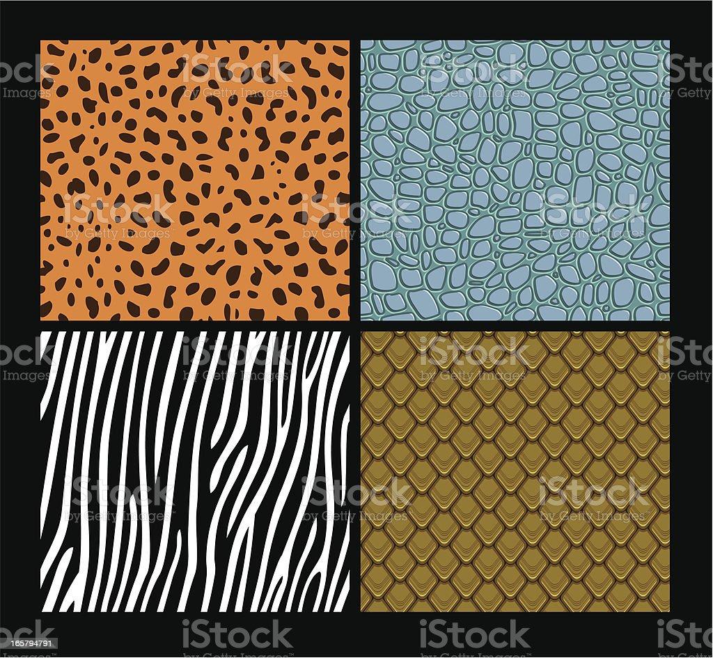 Seamless exotic animals skin patterns vector art illustration