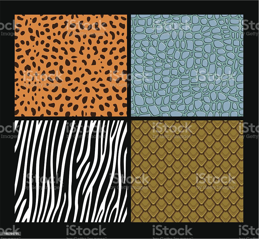 Seamless exotic animals skin patterns vector art illustration