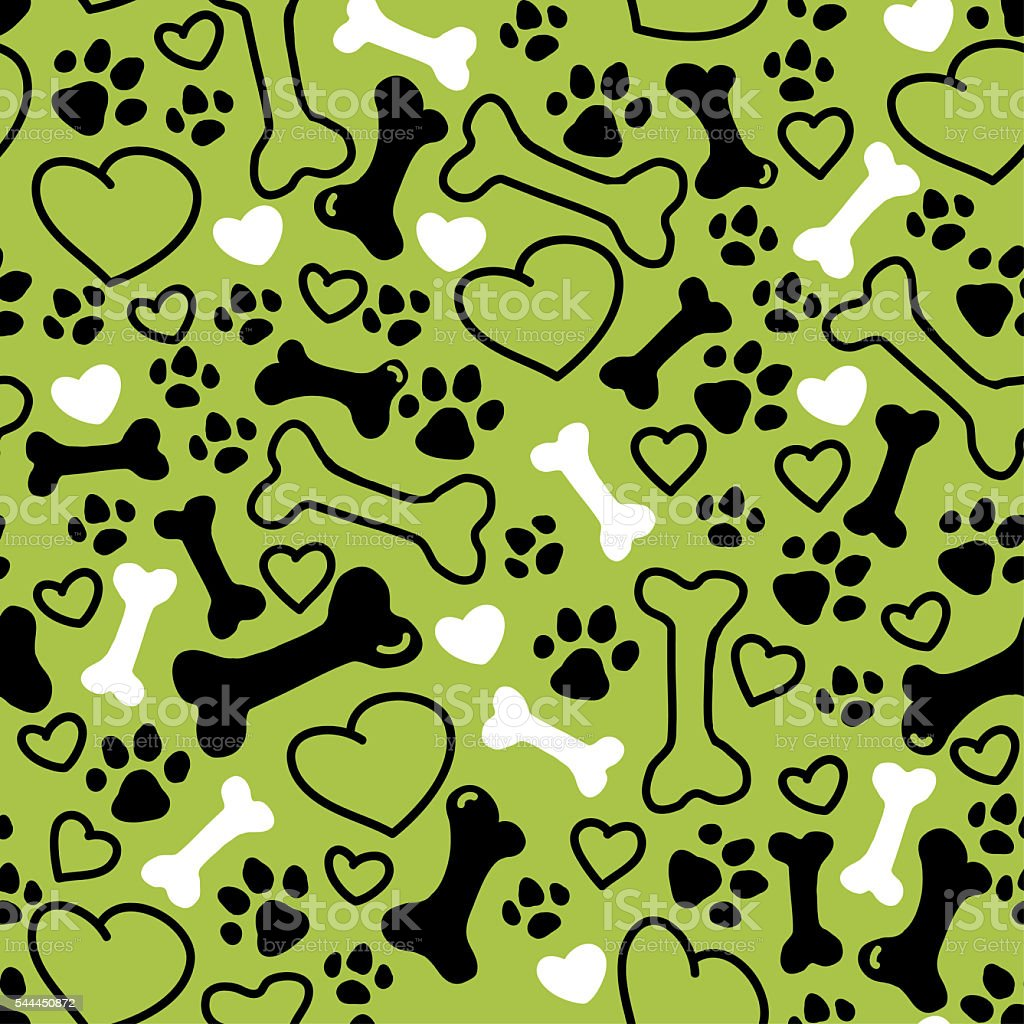 Seamless flat hand drawn dog pattern vector art illustration
