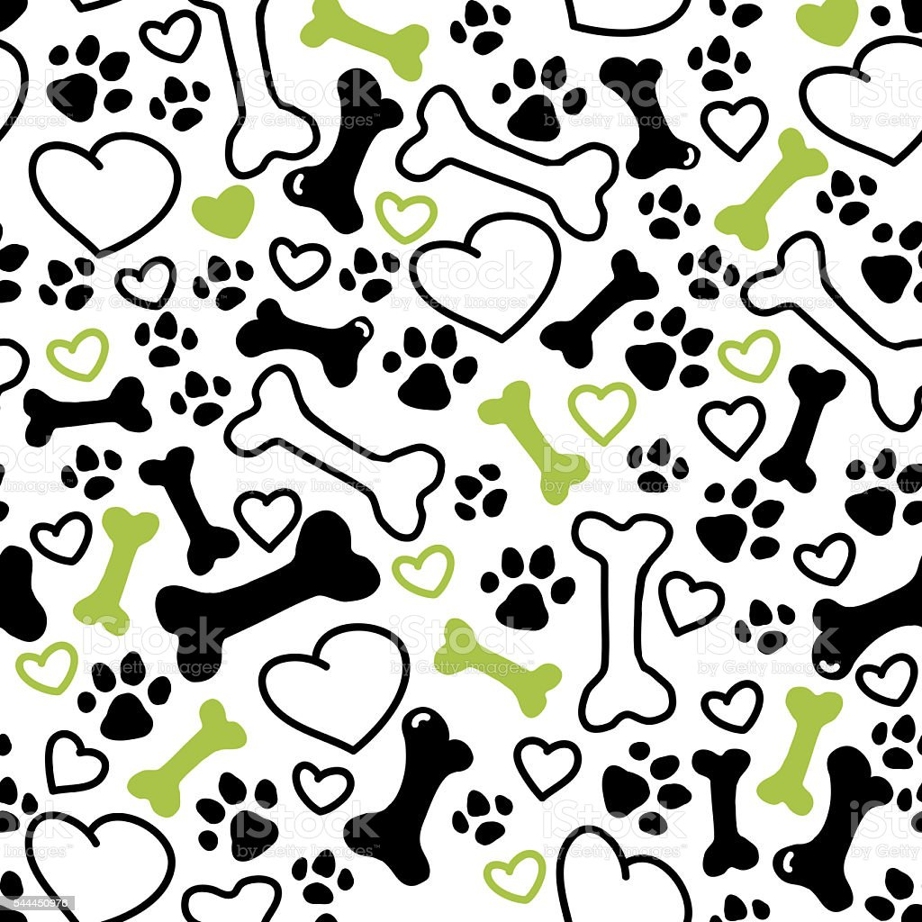 Seamless flat hand drawn dog pattern vector art illustration