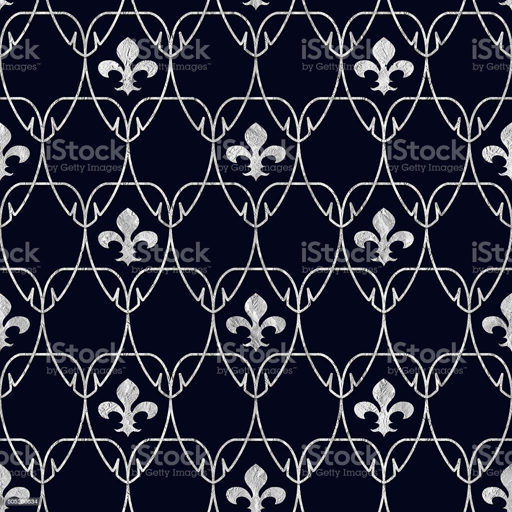 Seamless Fleur de Lis Art Nouveau Pattern with Silver Foil vector art illustration