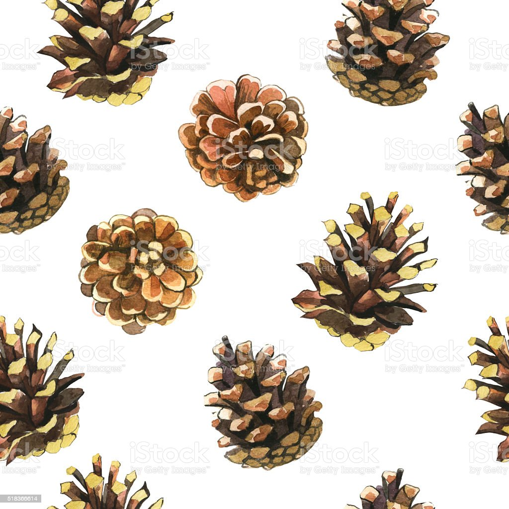 Seamless floral pattern. Background with pinecones. stock photo