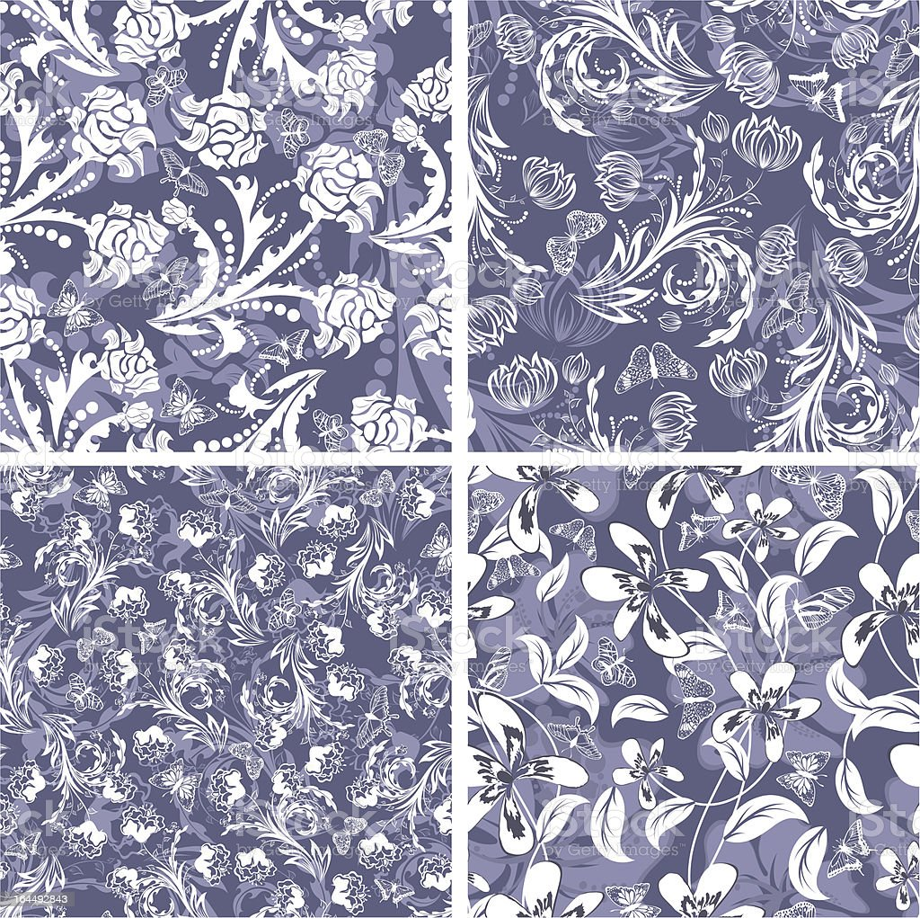 seamless floral pattern set royalty-free stock vector art