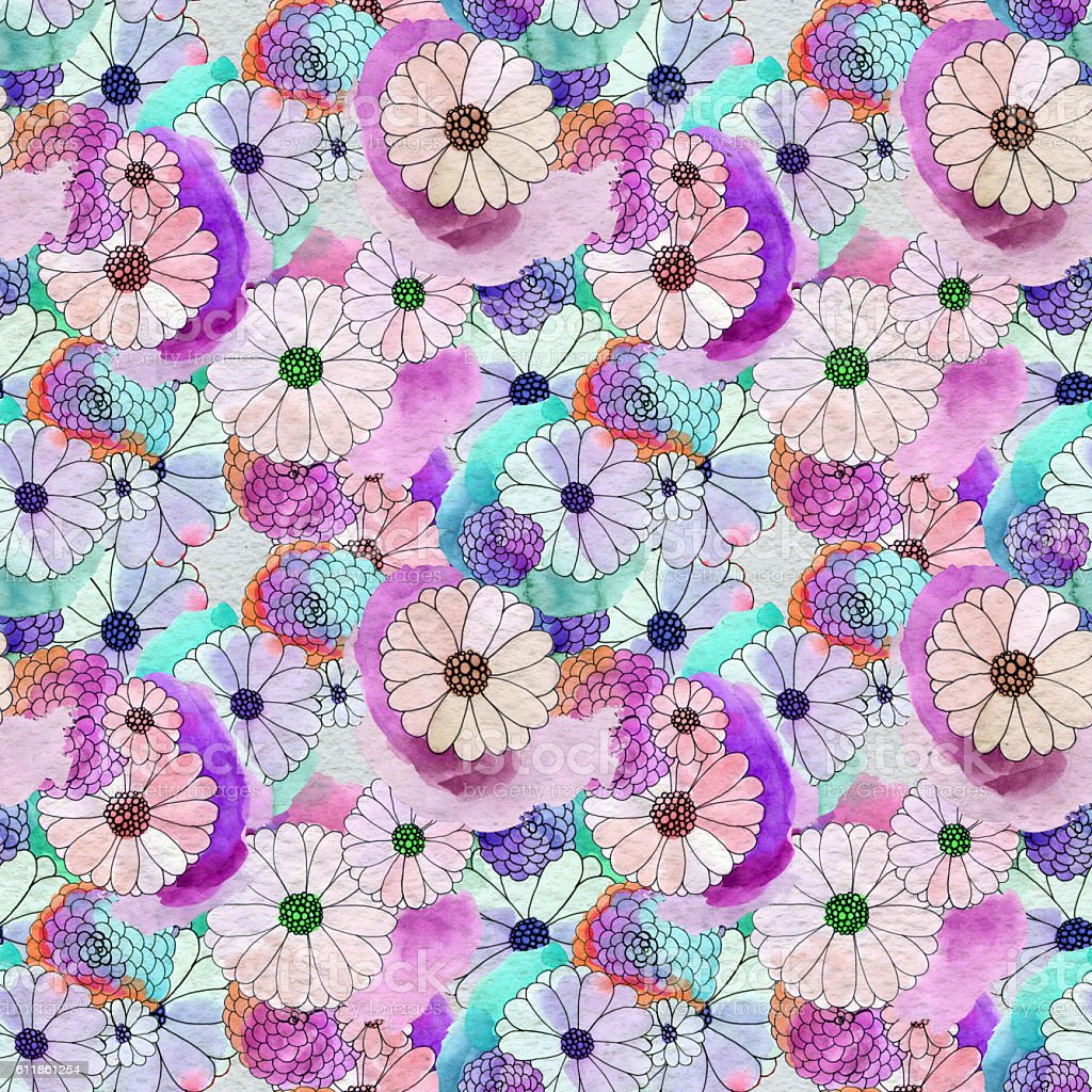 Seamless Floral Pattern With Asters And Daisy Flowers Stock Vector