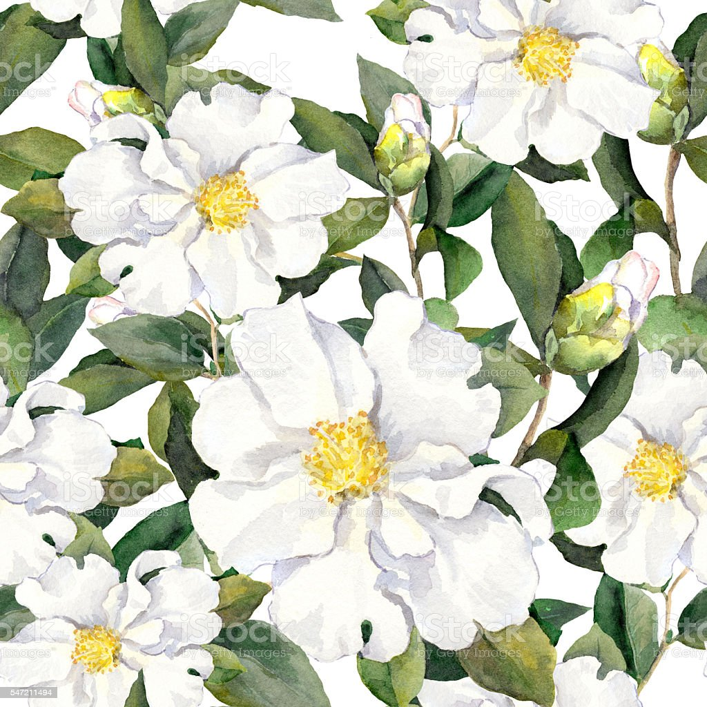 Seamless floral pattern with flowers. Watercolor painting on white background vector art illustration