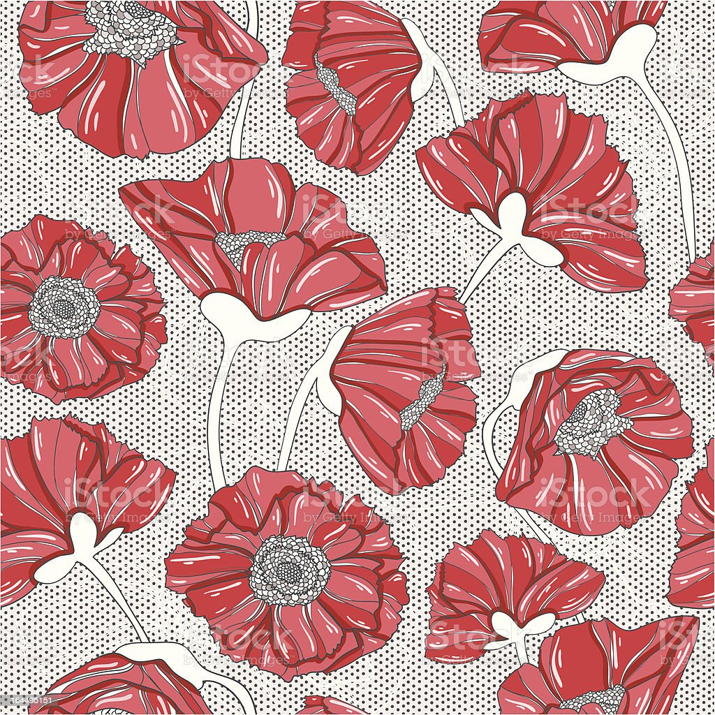 seamless floral poppy pattern royalty-free stock vector art