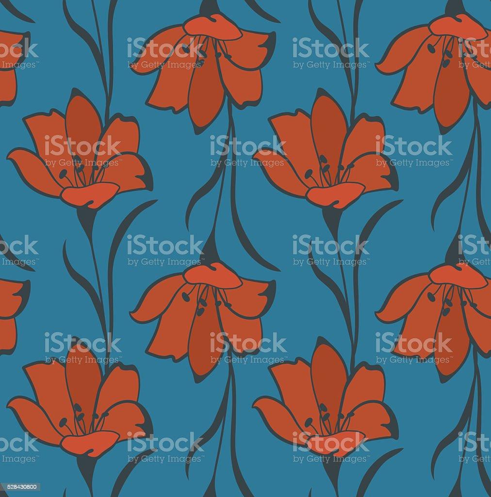Seamless Flower Buttercup  Pattern vector art illustration
