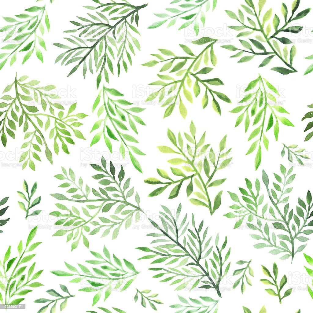 Seamless foliate watercolor ornament vector art illustration