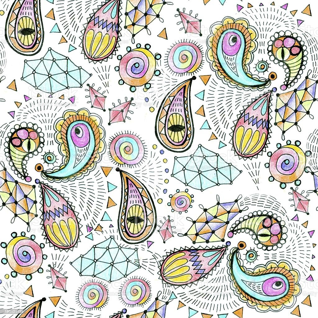 Seamless geometric pattern in paisley style. royalty-free stock vector art