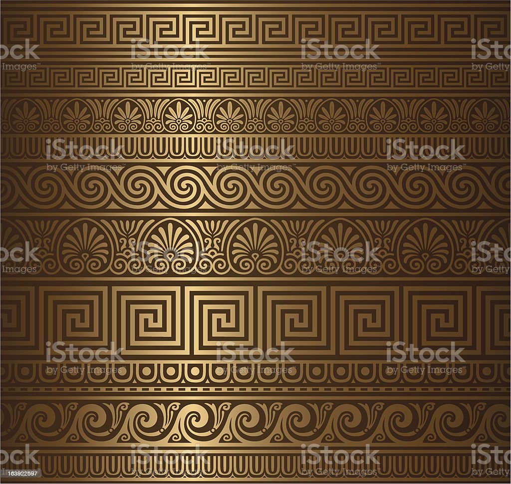 Seamless gold greek elements vector art illustration
