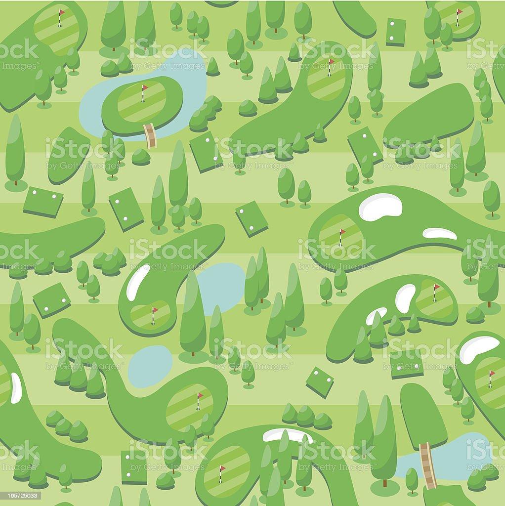 Seamless golf course wallpaper vector art illustration
