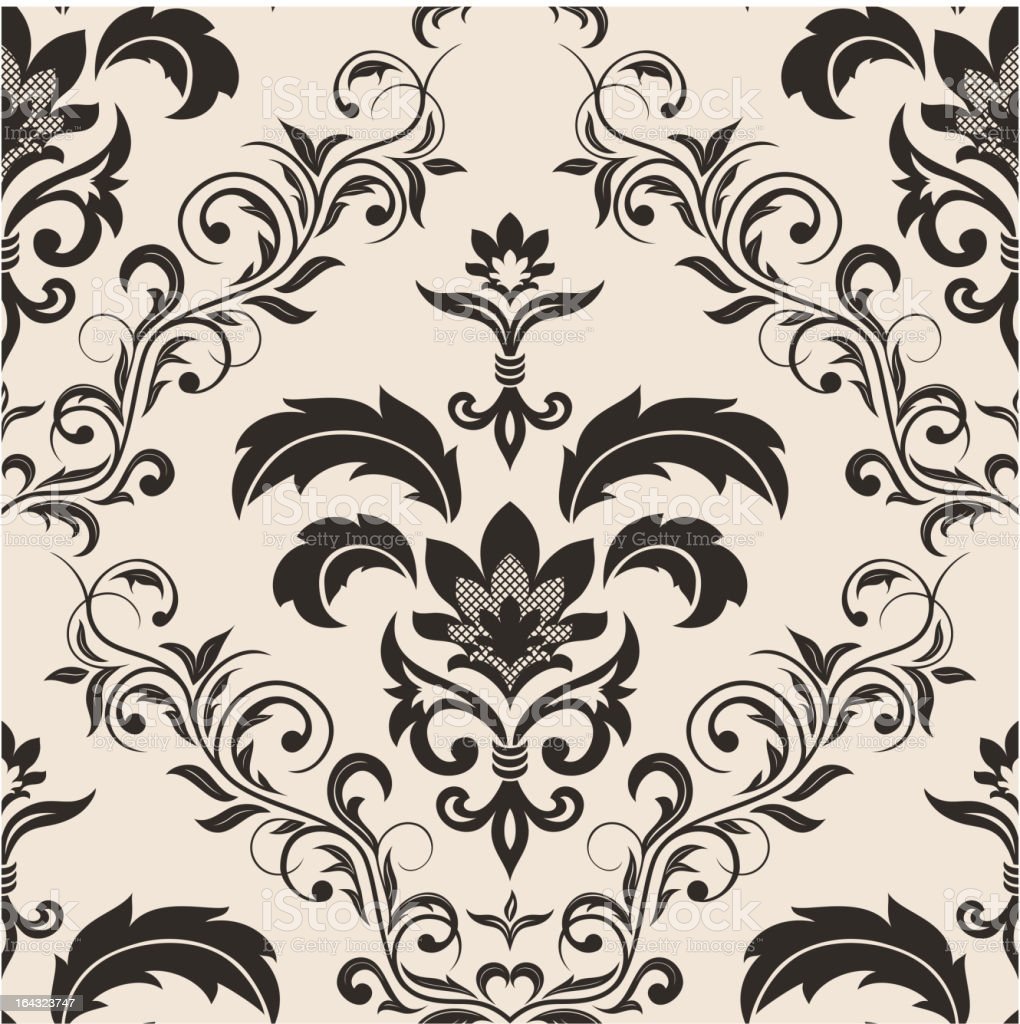 Seamless gothic floral wallpaper vector art illustration