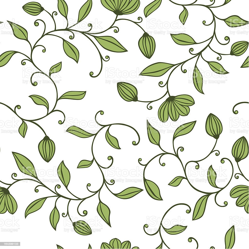 Seamless green floral pattern royalty-free stock vector art