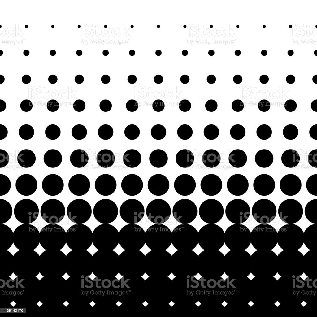 Seamless halftone gradient with large black dots vector art illustration