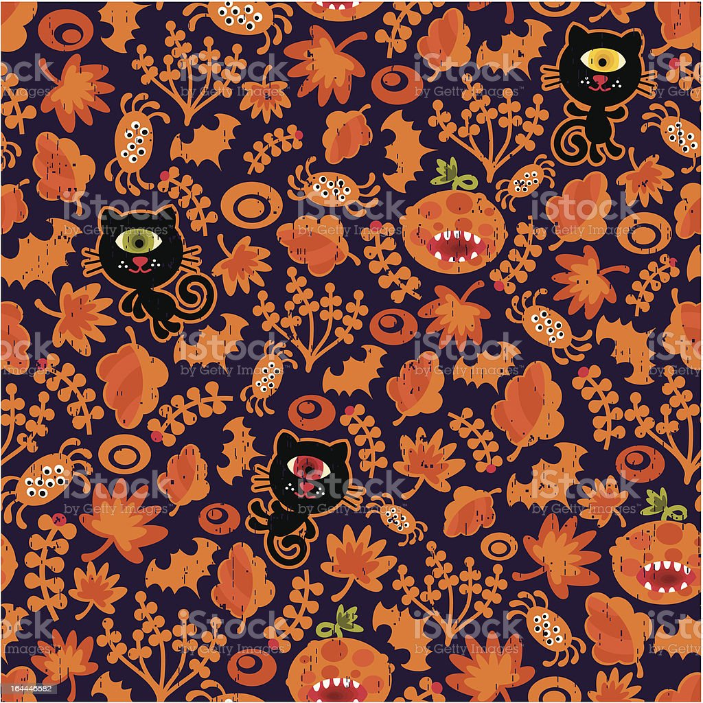 Seamless Halloween texture with black cat. royalty-free stock vector art