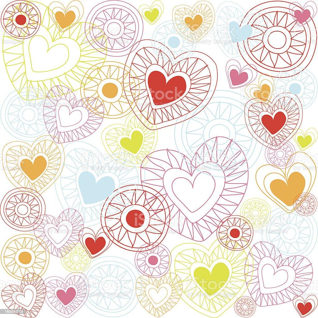 Seamless Heart Doodle Pattern vector art illustration