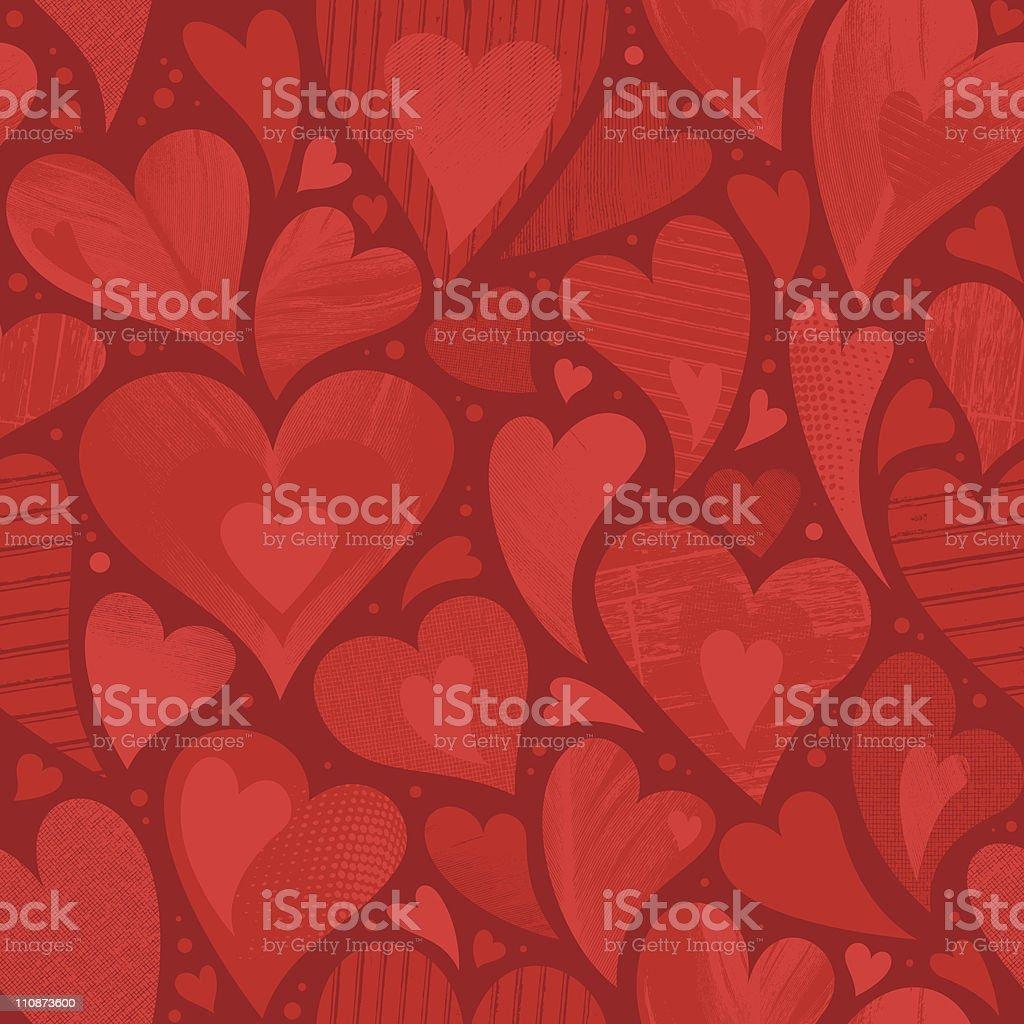 Seamless heart textured background vector art illustration
