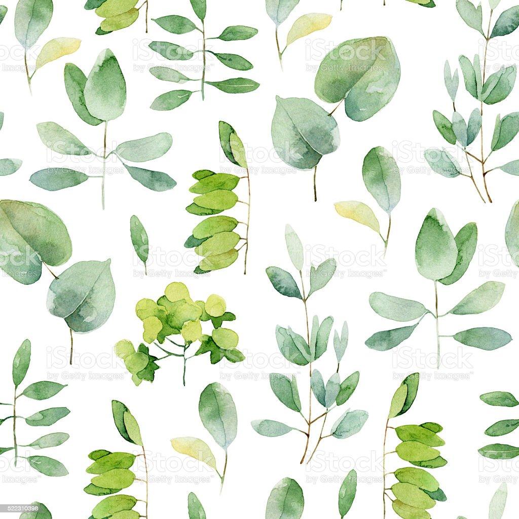 Seamless herbal pattern vector art illustration