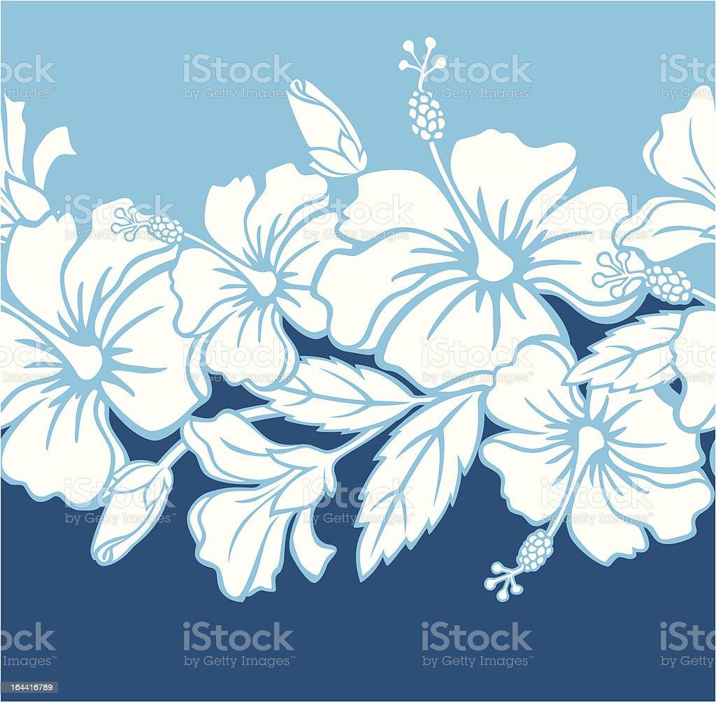 Seamless Hibiscus Hybrid Border/Pattern royalty-free stock vector art