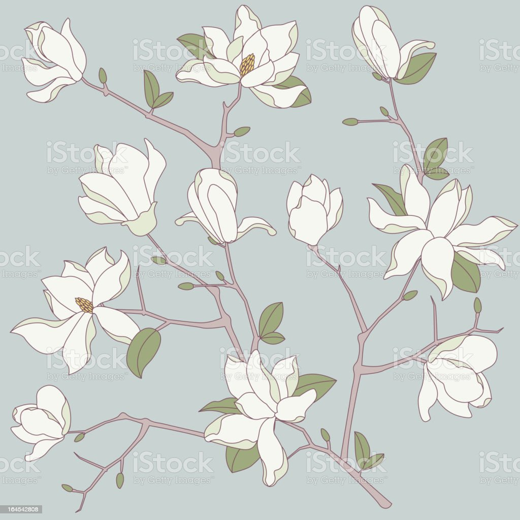 Seamless Magnolia Background royalty-free stock vector art