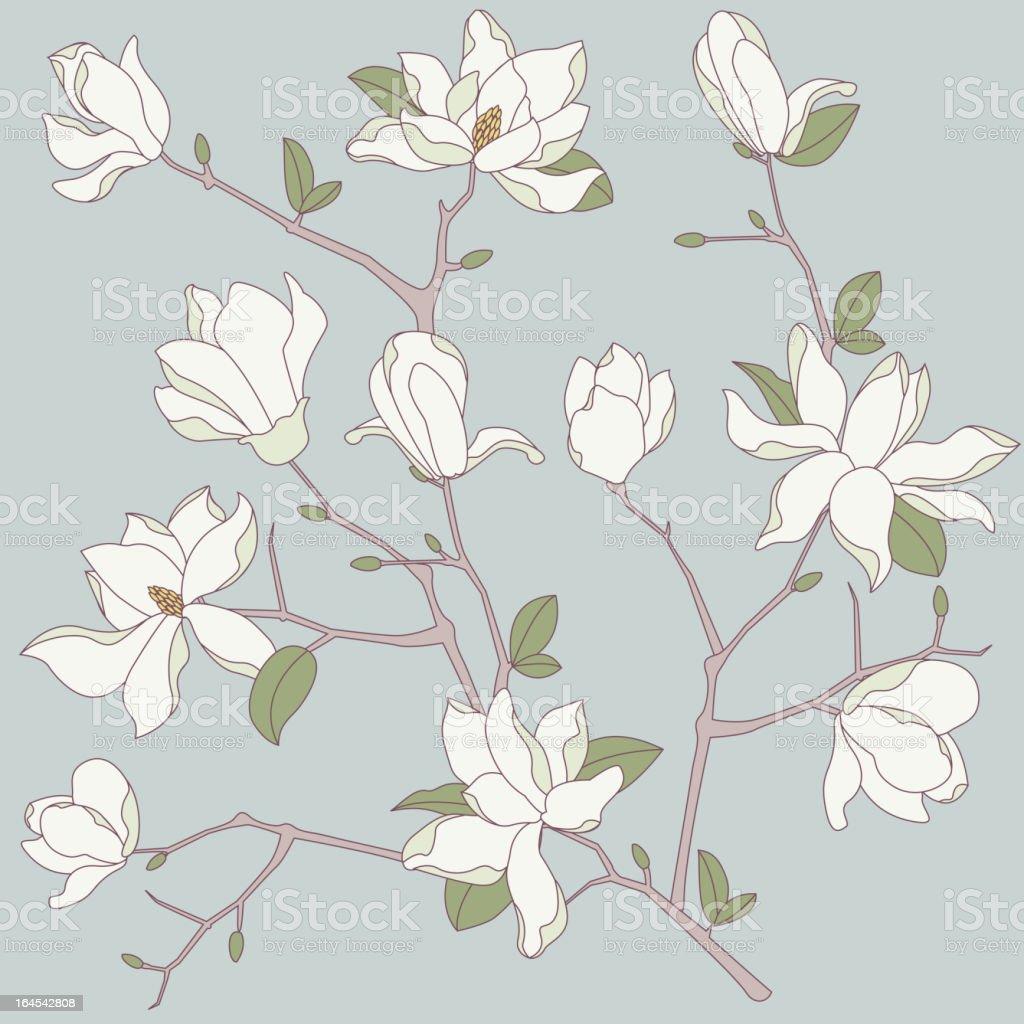 Seamless Magnolia Background vector art illustration