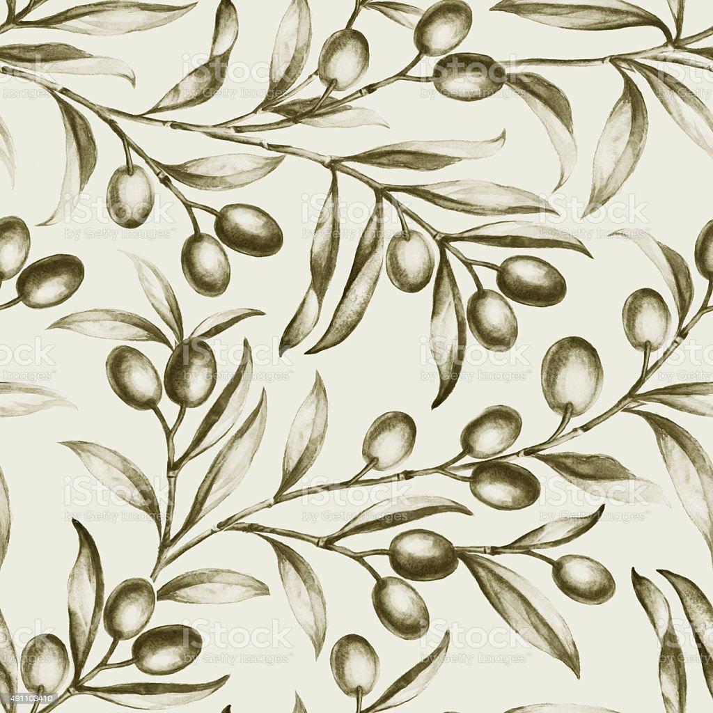 Seamless olive bunch fabric vector art illustration