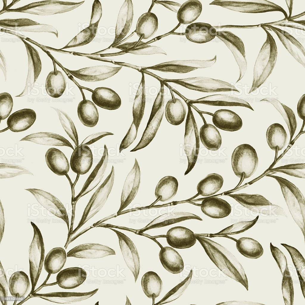 Seamless olive bunch fabric vector art illustration