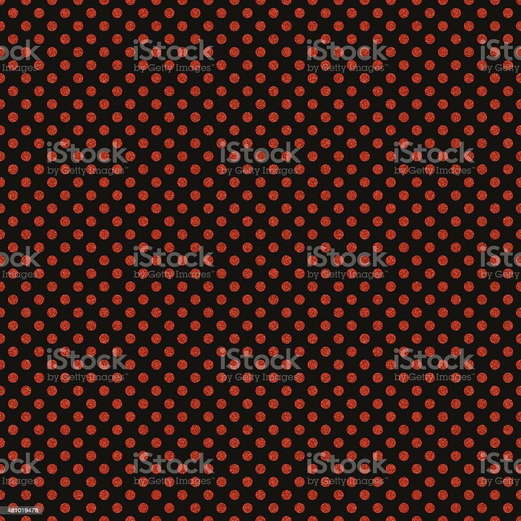 Seamless orange polka dot patter on black paper vector art illustration